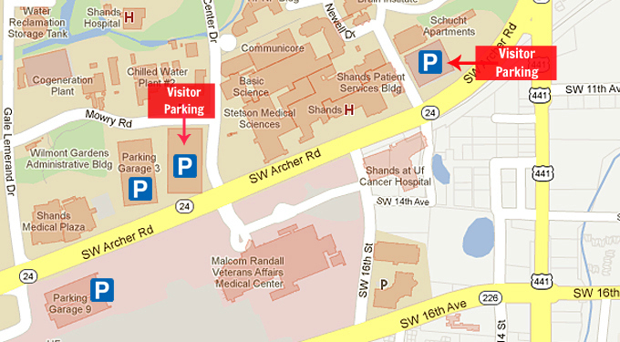 University Of Florida Location Map.Location Maps Parking Health Science Center Libraries Uf